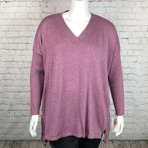 Style & Co Mauve V Neck Sweater Plus Size 2X